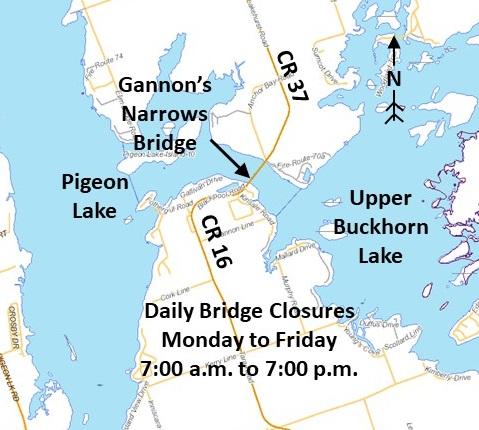 Map showing Gannons Narrows bridge spanning Pigeon and Buckhorn Lakes on Lakehurst Road