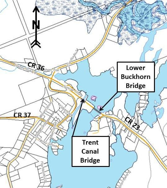 Map showing location of construction for both bridges in Buckhorn