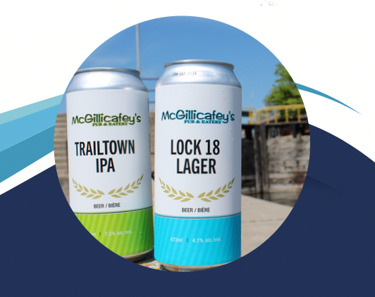 Trailtown IPA can and Lock 18 lager cans show Trent-Severn Trail Town related names