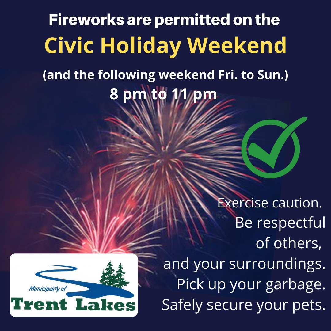 Infographic that Fireworks are permitted Civic Holiday long weekend