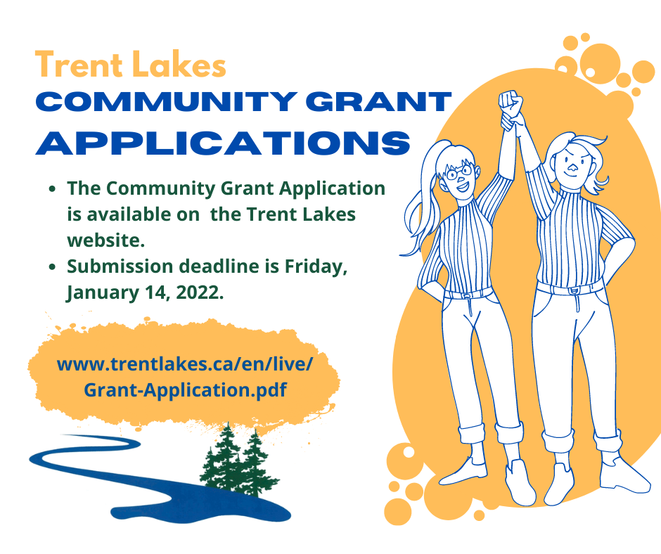 Infographic with graphic of a couple holding hands and raising them in air with wording the community grant applications are open