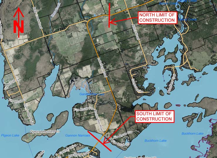 Map showing the area of construction on Lakehurst Rd
