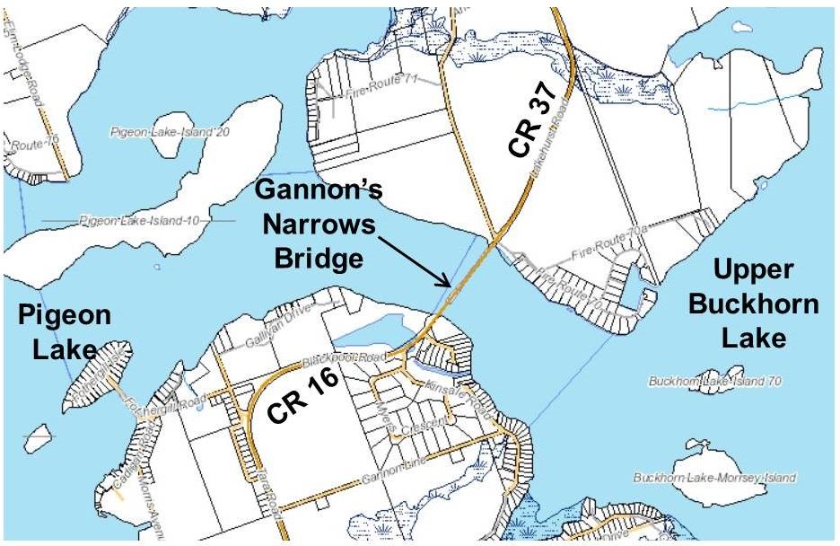 Map showing location of the Gannons Narrows Bridge on Lakehurst Road