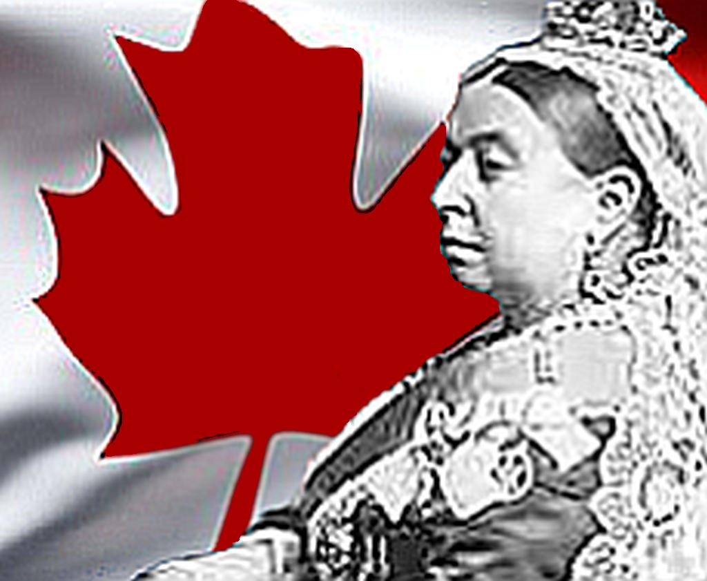image of queen victoria superimposed over canada flag