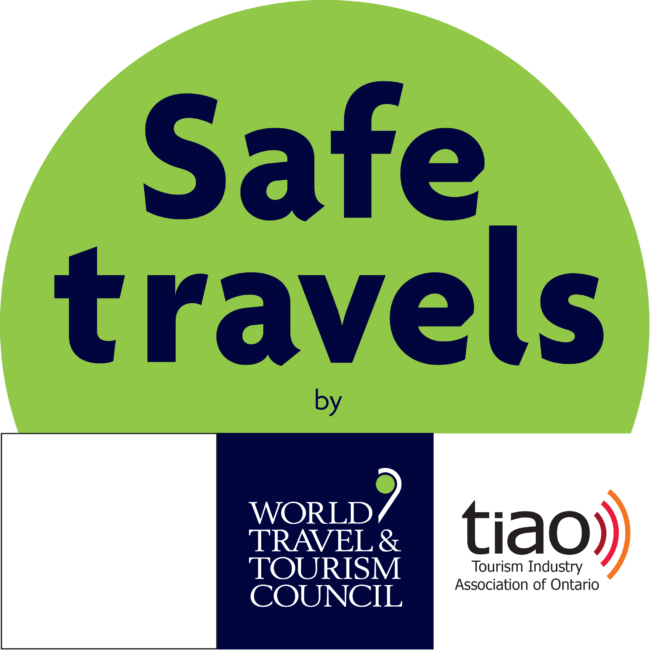 Green and blue Safe Travels logo