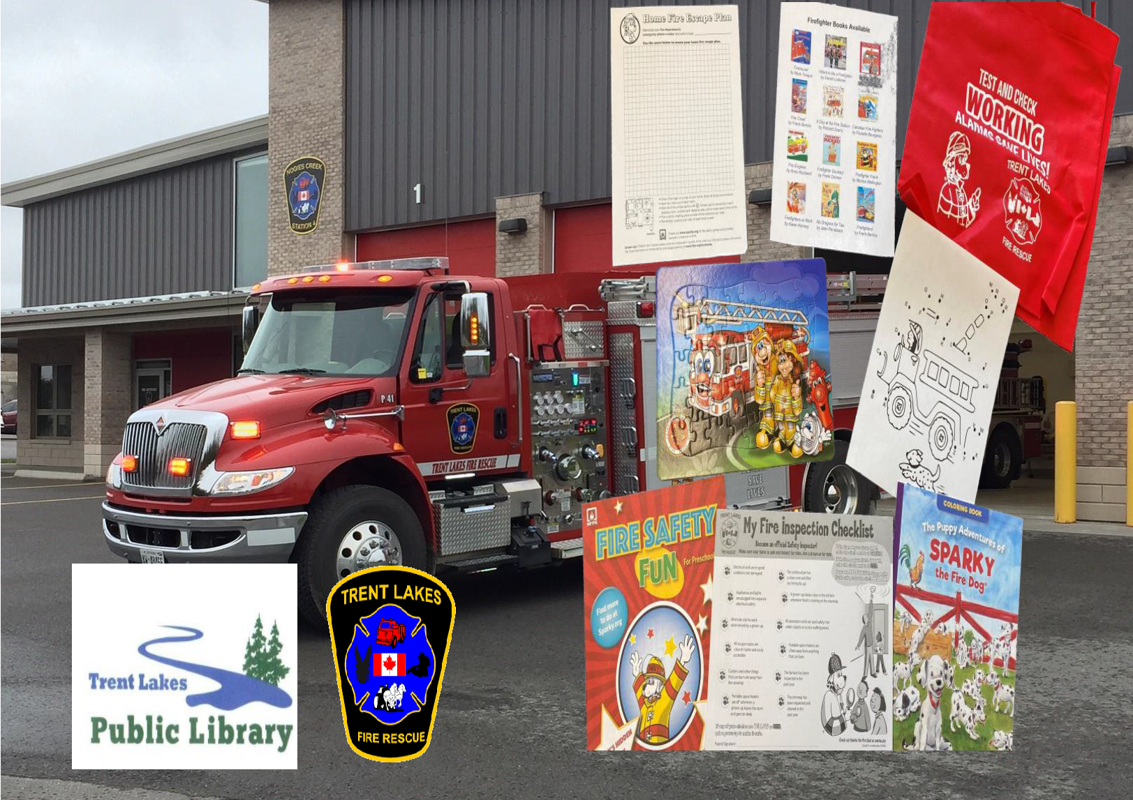 kids fire education items superimposed over a fire truck
