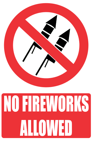 Infographic of firework rockets with a banned red circle overlay